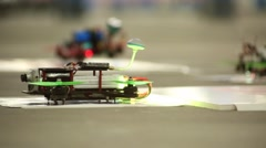 Racing Drone Taking Off - Slider Shot Stock Footage