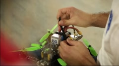 Racing Drone Installing Battery Stock Footage