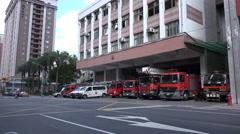 Fire trucks in Taipei, Taiwan Stock Footage