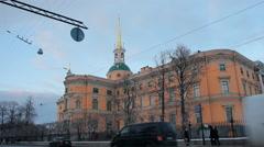 The ensemble of the Mikhailovsky Castle. Stock Footage