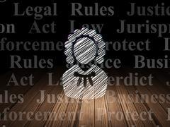 Law concept: Judge in grunge dark room Piirros