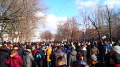Moscow - Memory march of slain politician Boris Nemtsov. Stock Footage