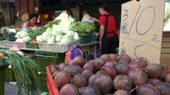 Fruit and vegetable market, food prices, local market Taipei, Taiwan Stock Footage
