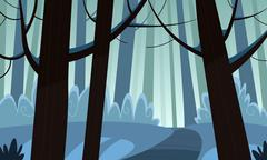 Winter Forest Trail Stock Illustration
