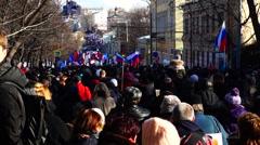 Memory march of slain politician Boris Nemtsov. Stock Footage