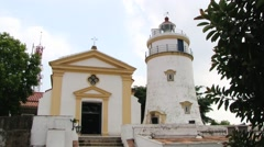 View to the old lighthouse and chapel in the Guia fortress in Macau, China. Stock Footage