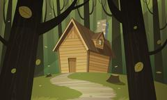 Cabin in Woods - stock illustration