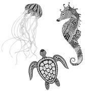 Zentangle stylized black turtle, sea horse and jellyfish. Hand D - stock illustration