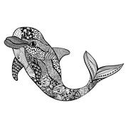 Zentangle stylized dolphin. Hand Drawn aquatic doodle vector ill - stock illustration