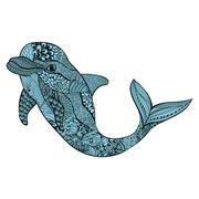 Zentangle stylized blue dolphin. Hand Drawn aquatic doodle vecto - stock illustration