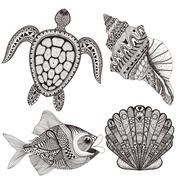 Zentangle stylized black sea shells, fish and turtle. Hand Drawn Piirros