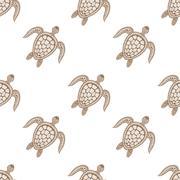 Zentangle tribal stylized turtle seamless pattern. Hand Drawn aq - stock illustration
