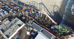 Birds-eye reveal of the Santa Monica Pier - stock footage