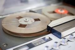 Vintage audio tape music recorder detail Stock Photos