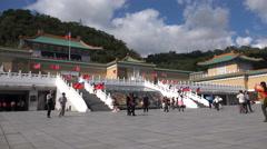Mainland Chinese tourists visit National Palace Museum in Taipei, Taiwan - stock footage