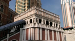 Exterior of the Venetian resort-hotel building in Macau, China. - stock footage