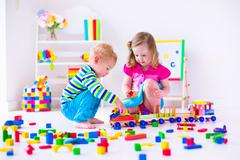 Kids playing at day care - stock photo