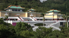 Overview of the popular National Palace Museum in Taipei, Taiwan - stock footage