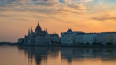 Budapest skyline sunrise timelapse, Budapest, Hungary, 4K Time lapse Stock Footage