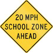 United States MUTCD school zone road warning sign - Speed limit ahead - stock illustration