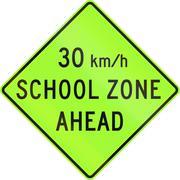 United States MUTCD school zone road warning sign - Speed limit ahead - stock illustration