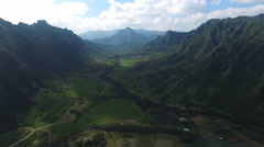 Aerial shot of Hawaii valley. Kaaawa valley, Kualoa Ranch Stock Footage