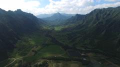 Aerial shot of Hawaii valley. Kaaawa valley, Kualoa Ranch Arkistovideo