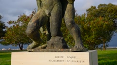 The sculpture, a monument to solidarity, Izola, Slovenia Stock Footage