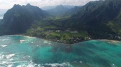 Aerial shot of Hawaii valley. Kaaawa valley, Kualoa Ranch Stock Footage