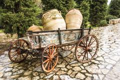 Old horse drawn wooden cart Stock Photos