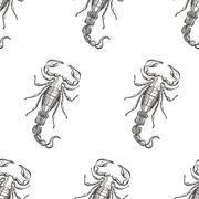 Hand drawn engraving Scorpion seamless pattern. Vector illustrat Stock Illustration