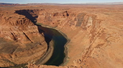 Aerial shot of Horseshoe bend, Arizona Stock Footage