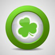 Button with the green shamrock Stock Illustration