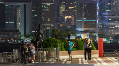 Statue and skyline in Avenue of Stars timelapse in Hong Kong, China Stock Footage