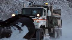 Snow Plow Passing Partial Pan Follow 4K Stock Footage