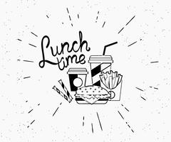 Lunch time vintage label of burger with coffee and french fries in hipster style Stock Illustration