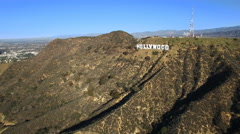 High quality aerial shot of Hollywood sign and district - Los Angeles Arkistovideo