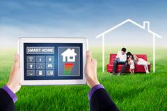 Tablet with smart home controller applications Stock Photos