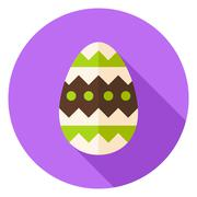 Easter Egg with Ornament Decor Circle Icon - stock illustration