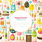Flat Happy Easter Vector Background - stock illustration