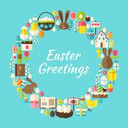 Flat Style Vector Circle Template Collection of Easter Greeting Objects Stock Illustration