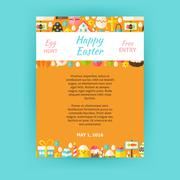 Happy Easter Invitation Vector Template Poster Stock Illustration