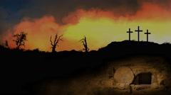 Empty Tomb Exterior with Golden Skies Stock Footage