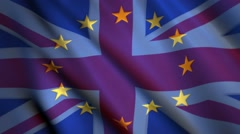 United kingdom and European union flag, British eu referendum brexit fade Stock Footage