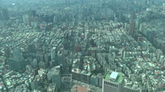 Taipei city aerial, business district, office towers, traffic streets, pattern Stock Footage