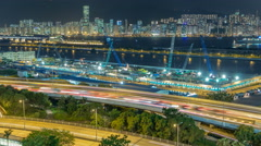 Top view of Hong Kong at night, View from kowloon bay downtown timelapse Stock Footage
