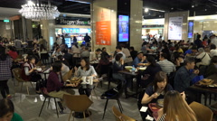 People eat lunch in popular food court, restaurants in Taipei, Taiwan - stock footage
