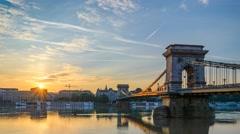 Sunrise timelapse at Chain Bridge, Budapest, Hungary, 4K Time lapse Stock Footage