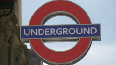 Close up view of an Underground sign in London Stock Footage