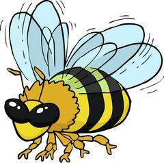 Cartoon flying bee - stock illustration